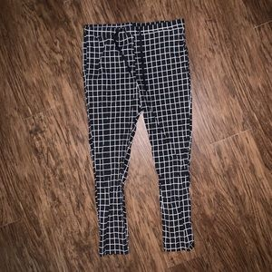Mens Black & White Checkered Pants
